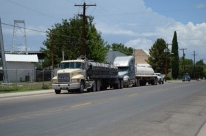 Trucks wait to be filled with water purchased from the City of Marfa
