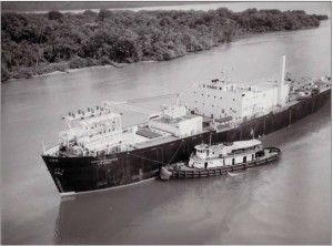 TA 1968 photo of the Sturgis in the Panama Canal where it provided electricity to operate the locks.