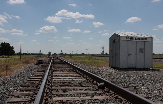 Railroad tracks into Mumford just northwest of Bryan-College Station. Photo by Dave Fehling