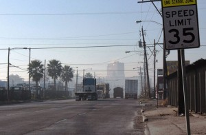 A pollution haze over Houston East End.
