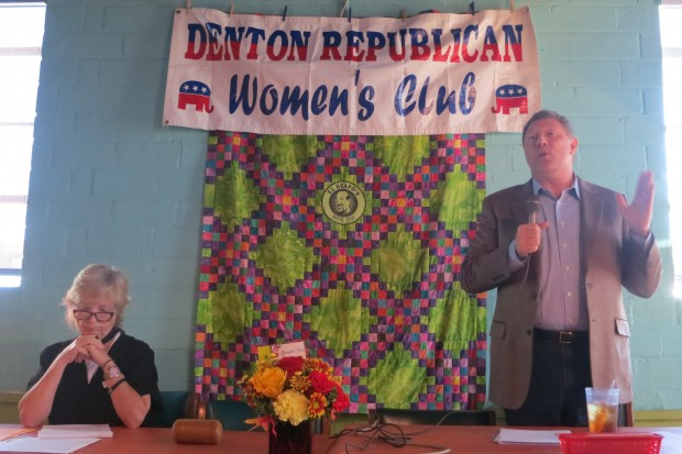 Cathy McMullen and Tom Giovanetti debate a proposal to ban fracking at a meeting of the County GOP Womens Club.