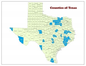 Counties that contain at least one project applying for state funds are highlighted in blue.