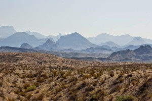 Haze is visible in the distance at Big Bend National Park.