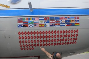 Stickers on the side of the plane commemorate every Hurricane it has flown into.