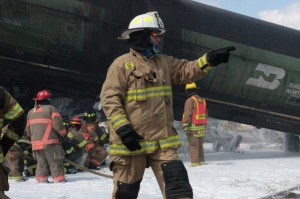 Firefighters train to battle a crude oil train wreck.